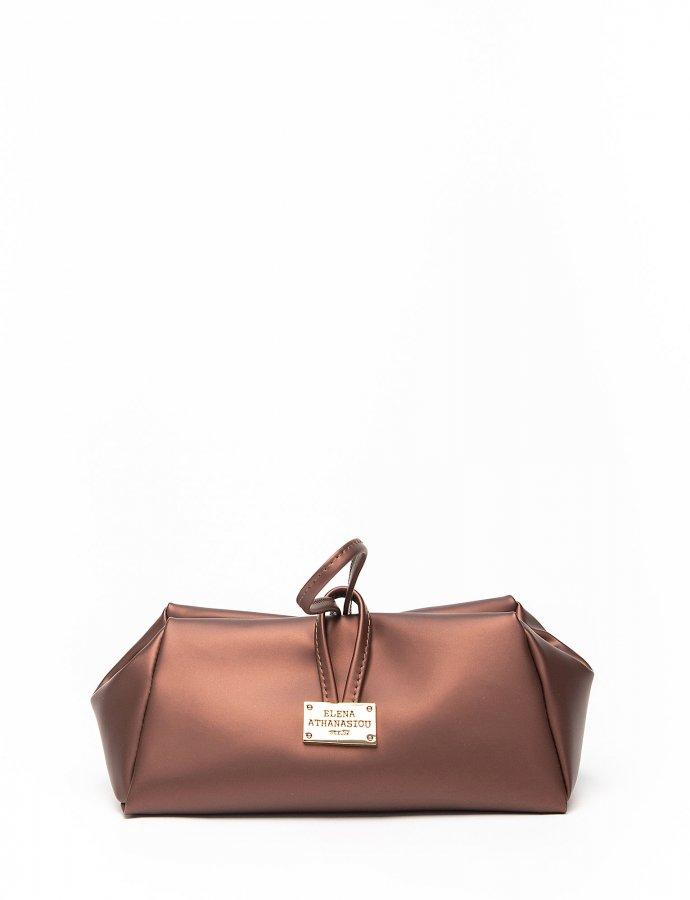 Metallic burgundy large lunch bag