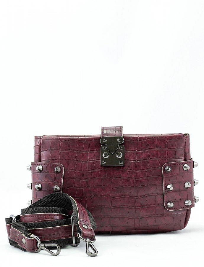 City lady croco clutch bag burgundy