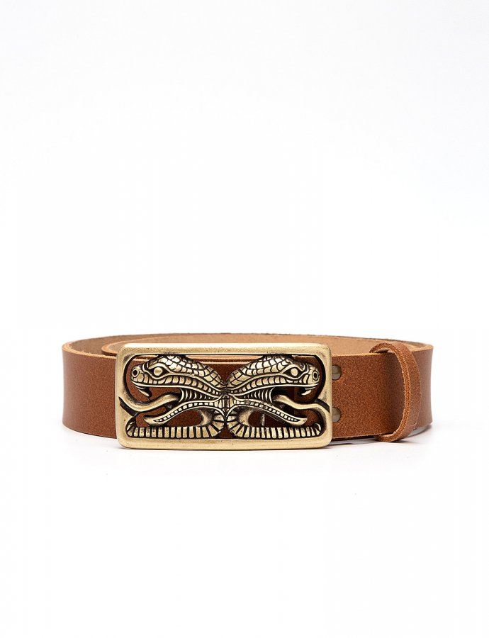 The serpent leather belt tanned