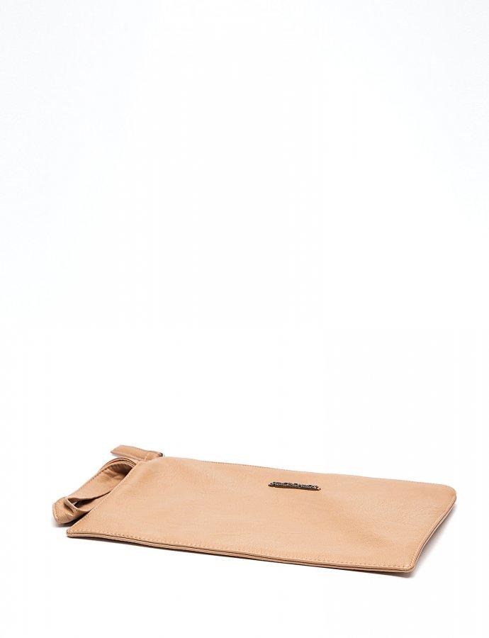 Cute eco leather clutch bag beige