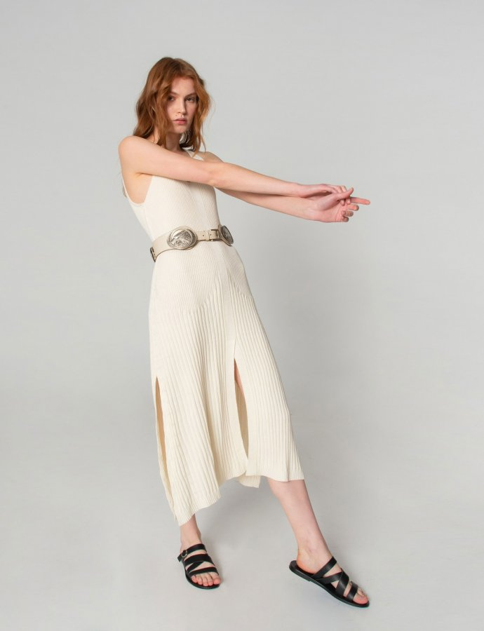 Tribes of knit dress off white
