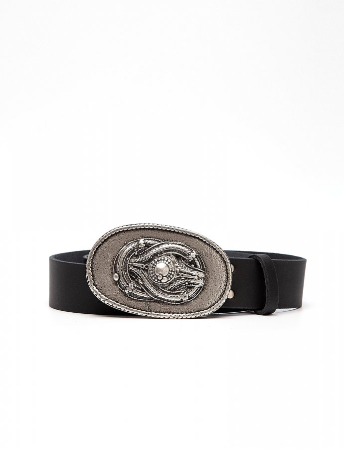 Knot leather belt black