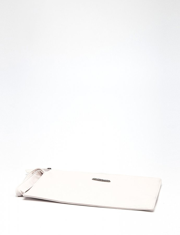 Cute eco leather clutch bag off white