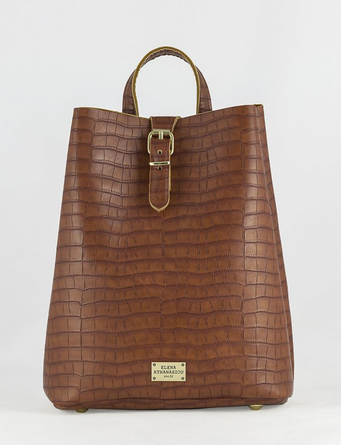 Croco backpack taupe