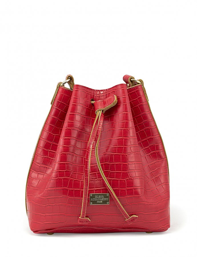 Croco pouch bag red