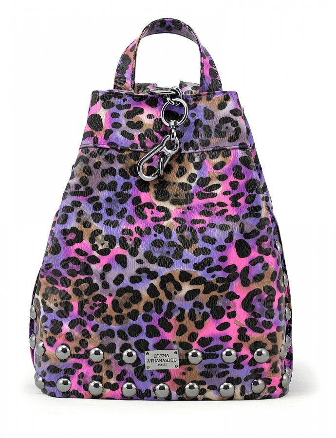 Backpack animal print purple nickel