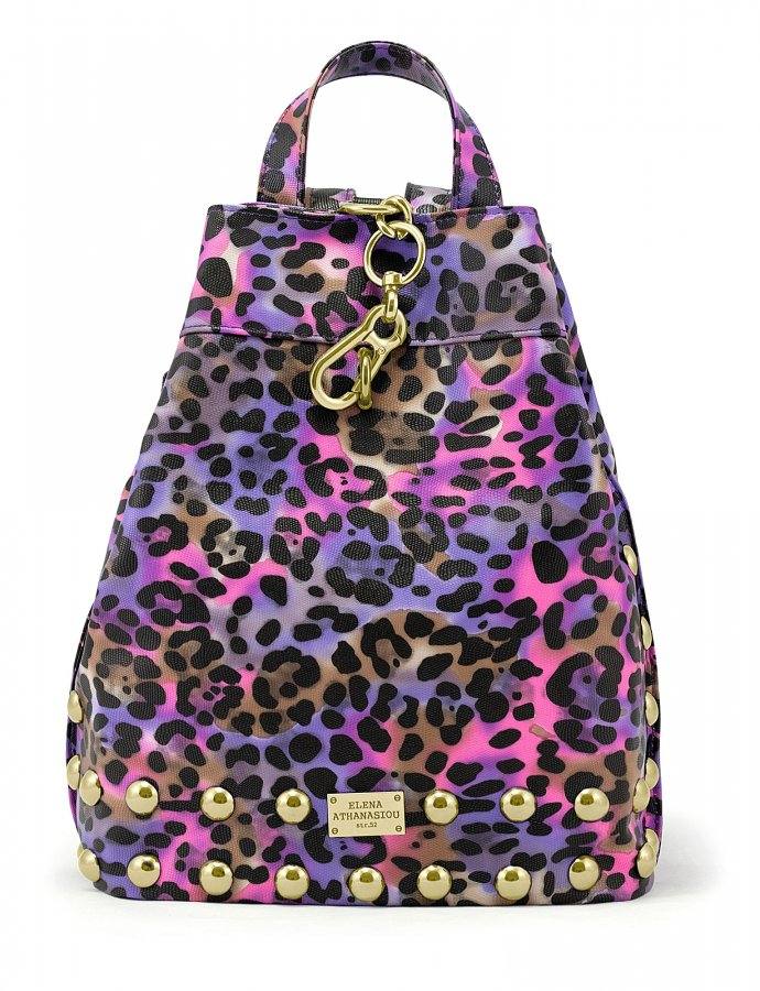 Backpack animal print purple gold