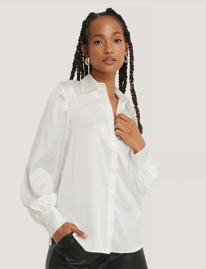 White hidden button shirt