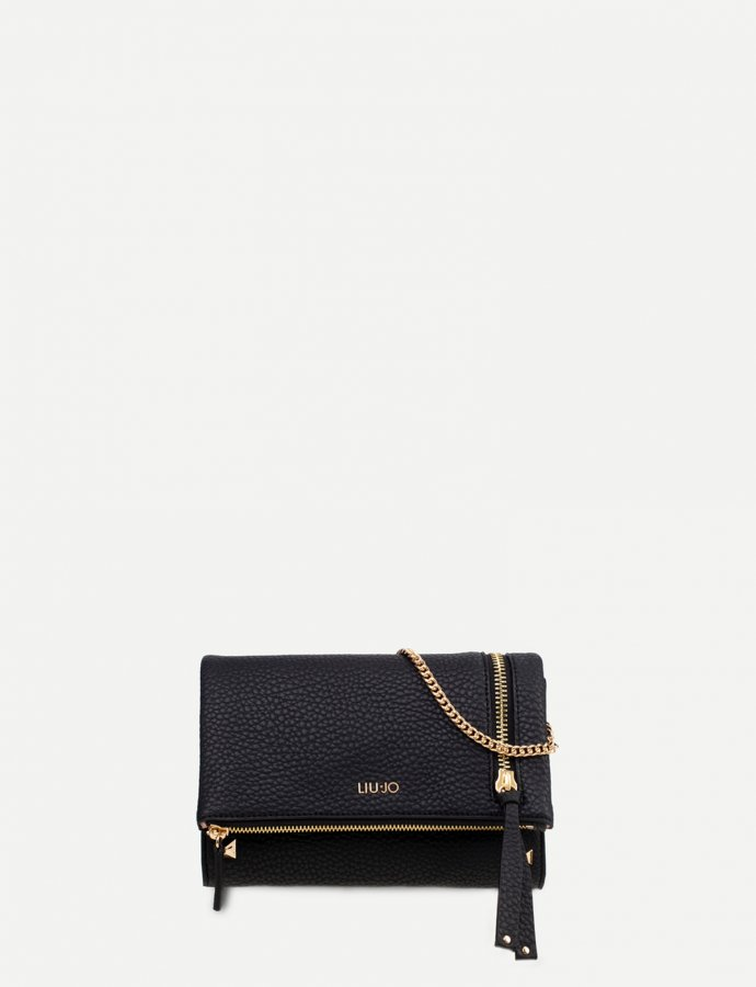 Clutch bag with zip black