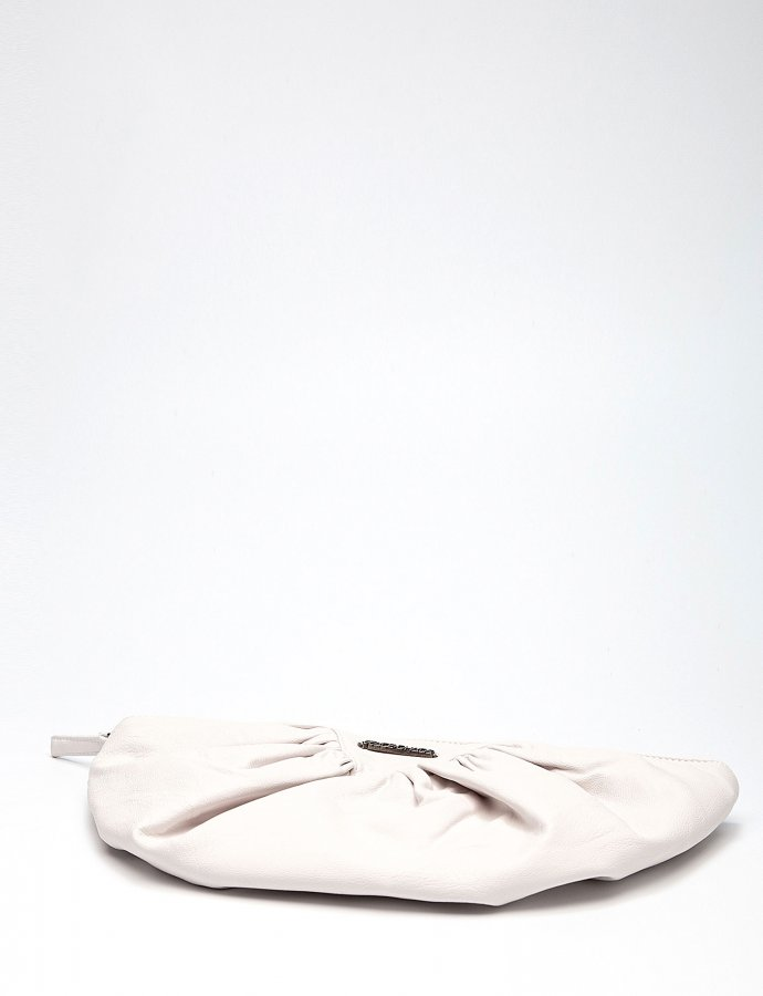 Bae eco leather clutch bag off white