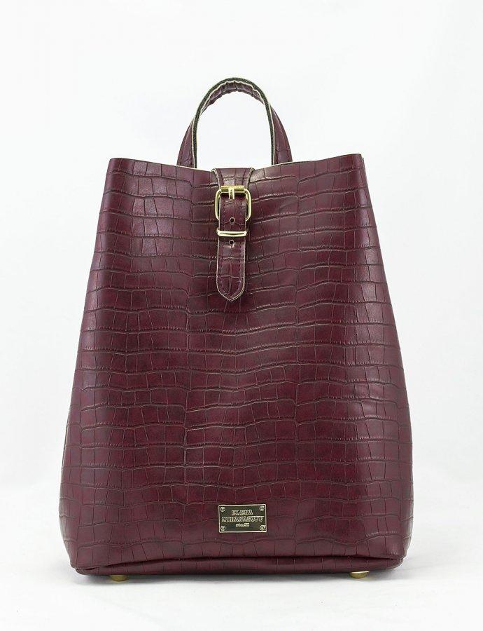 Croco backpack burgundy