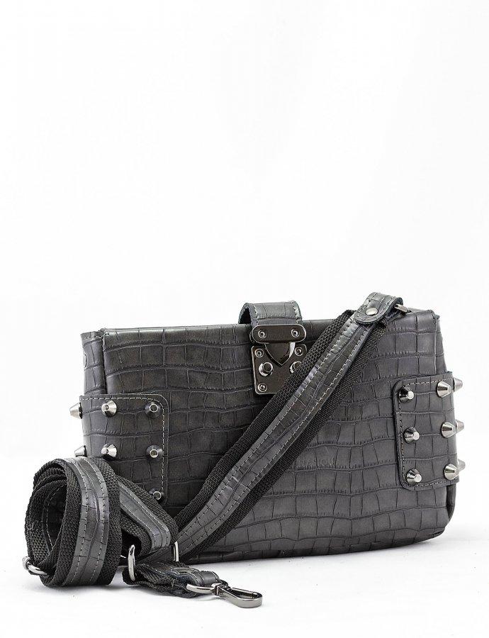 City lady croco clutch bag dark grey