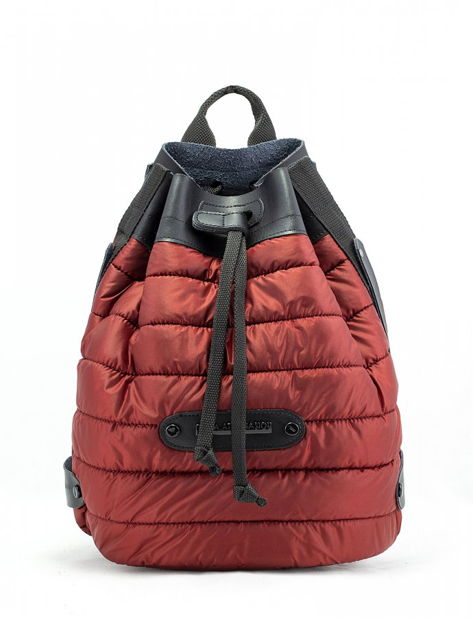 Puffer backpack brick red