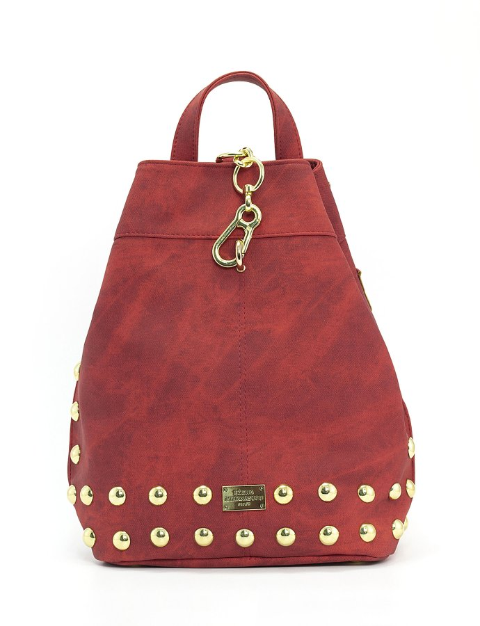 Backpack jean pattern red gold