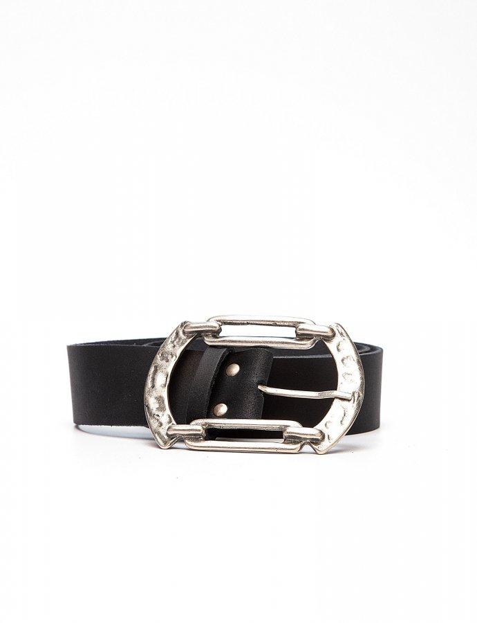 Connection leather belt black