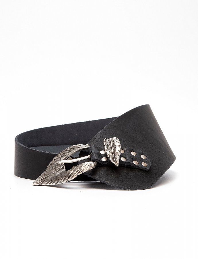 Leaf asymmetric leather belt black
