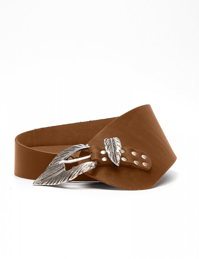 Leaf asymmetric leather belt tanned