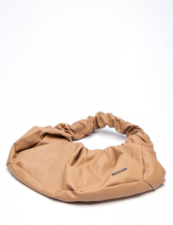 Eco leather croissant bag beige