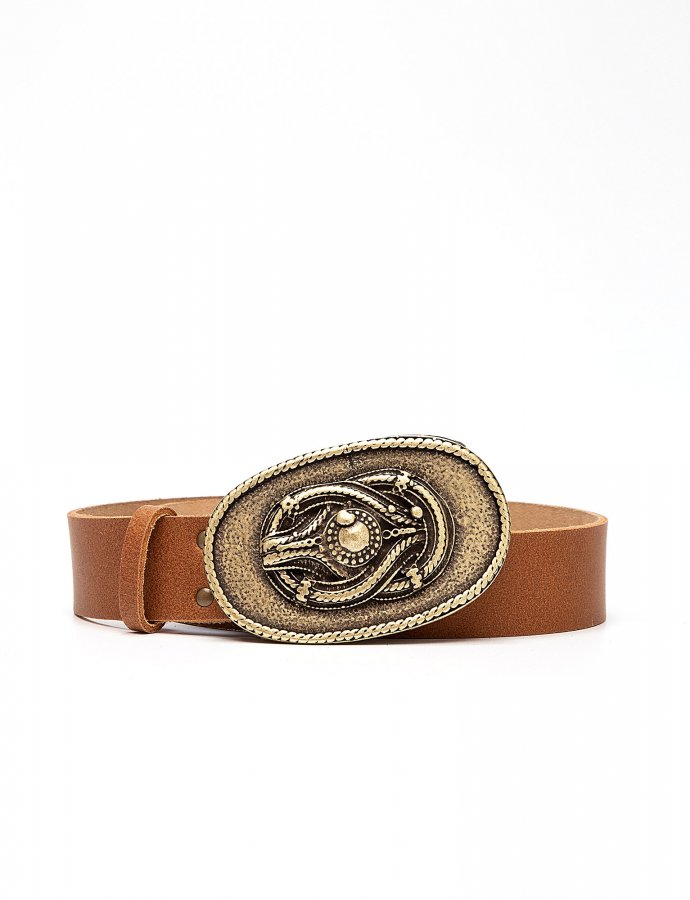 Knot leather belt tanned