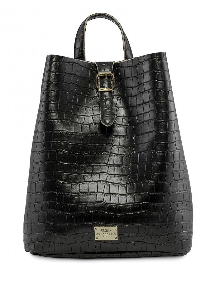 Croco backpack black