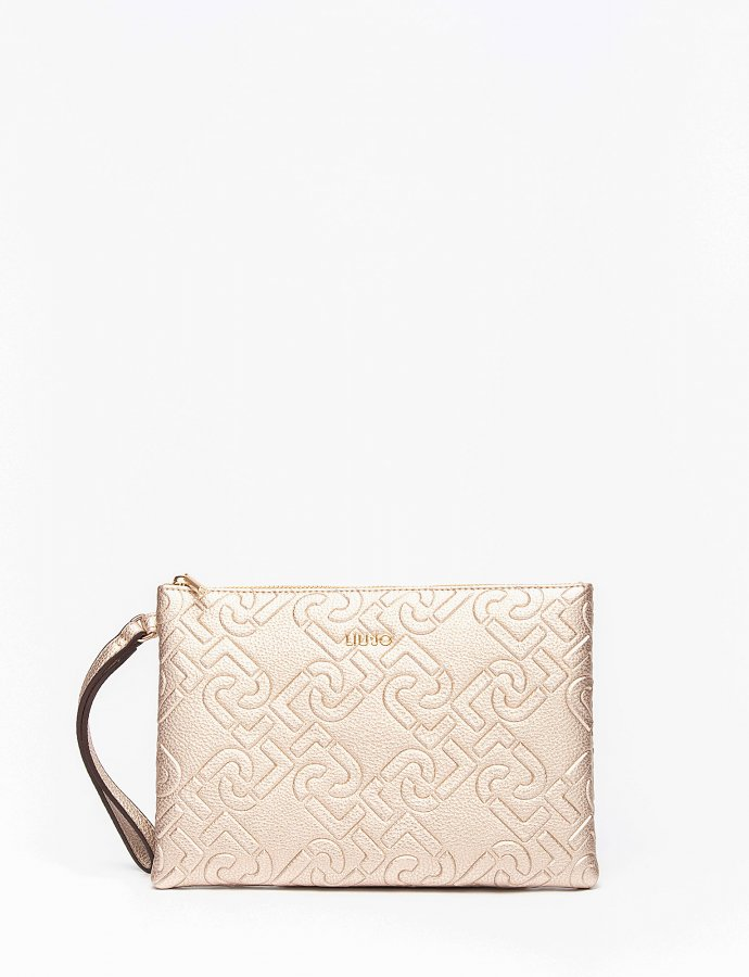 Clutch bag with logo light gold