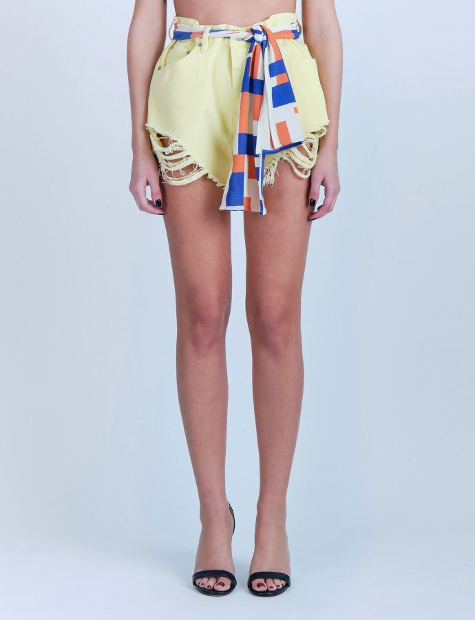 Ion mellow yellow ripped denim shorts