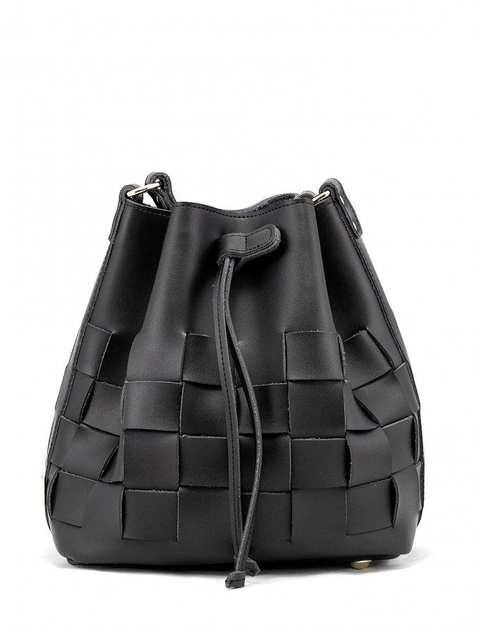 Straw pouch bag black