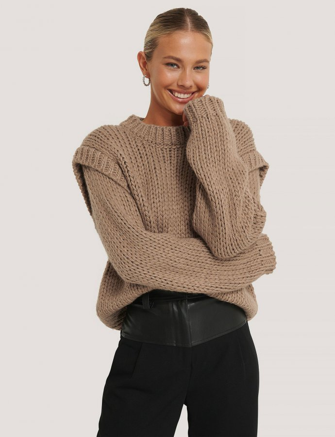 Wool blend shoulder detail knitted sweater