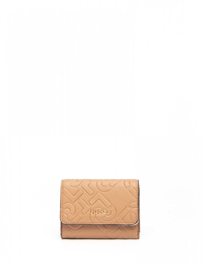 Wallet with logo Indian tan