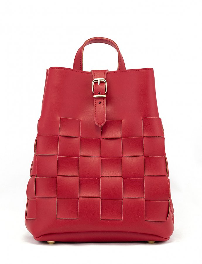 Straw backpack red