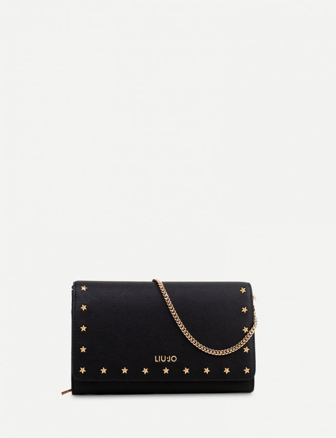 Clutch bag with stars black