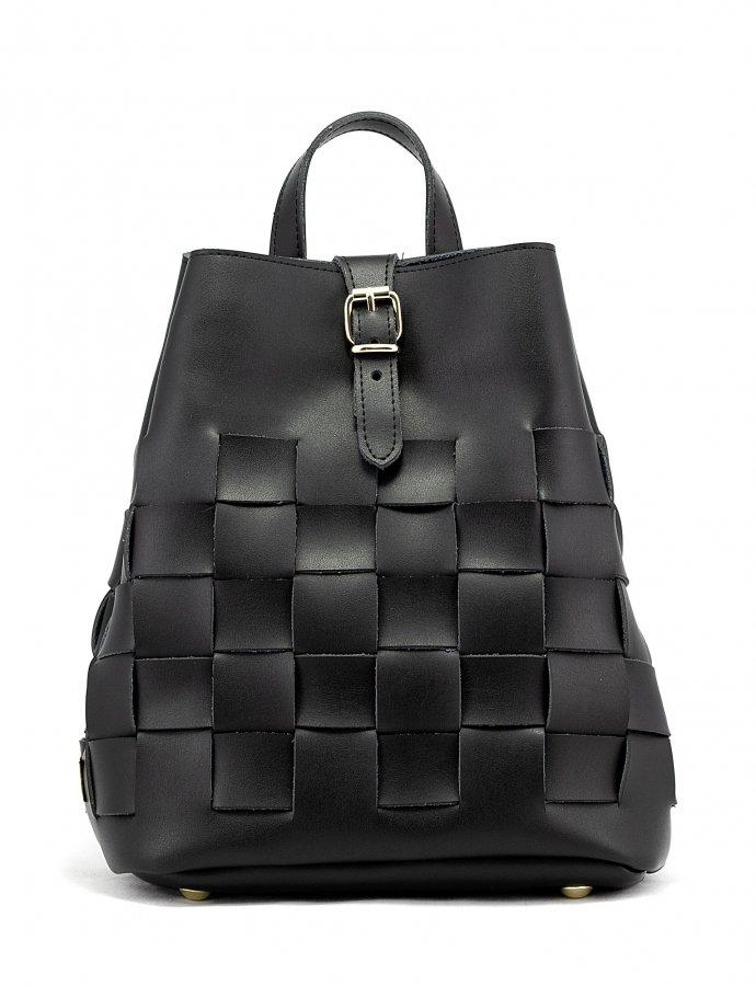 Straw backpack black