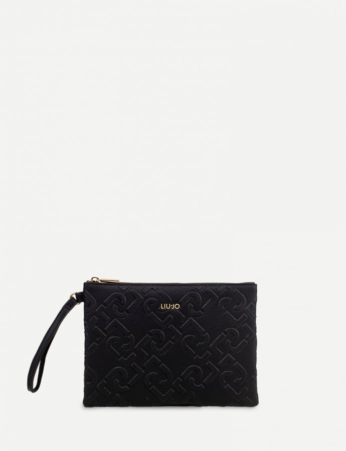 Clutch bag with logo black