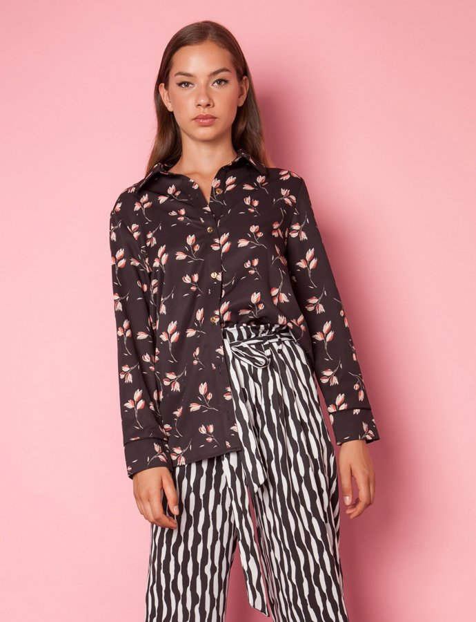 Moon black floral shirt