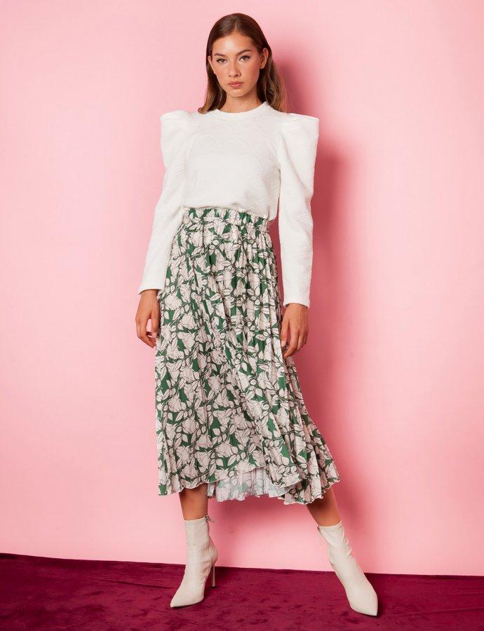 Iris green floral skirt