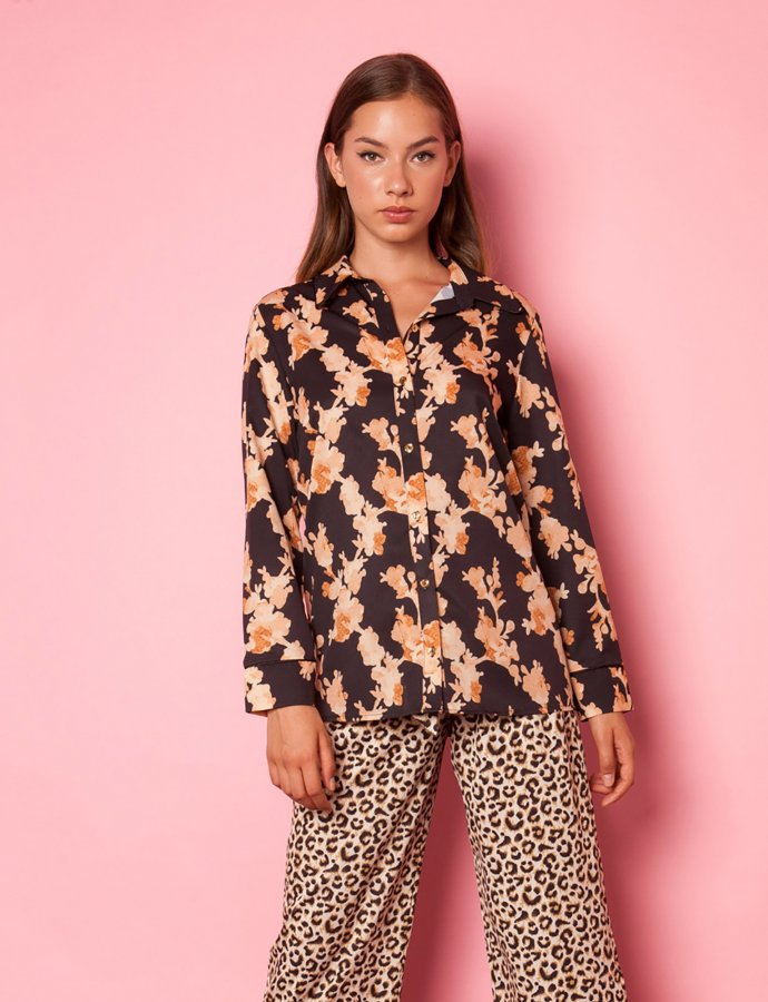Moon brown print shirt