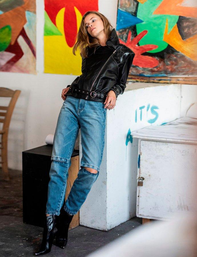 Bon Jovi blue-zip jeans