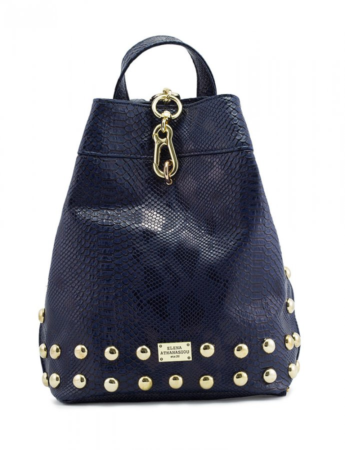 Backpack navy blue snake bag