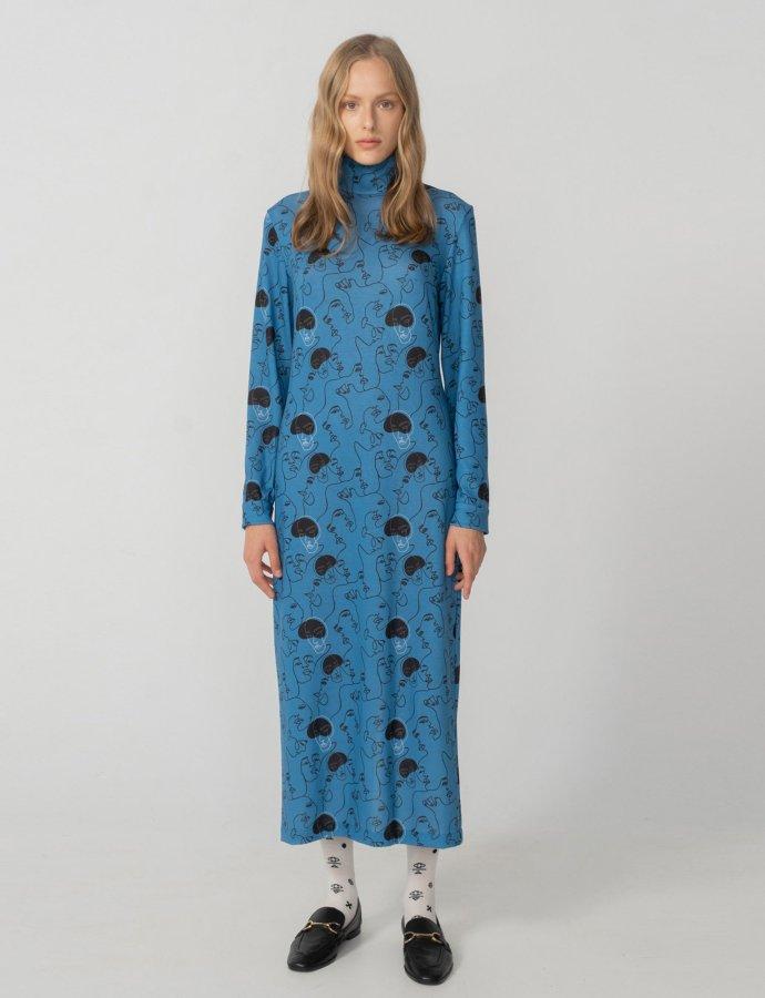 Unity turtleneck dress blue