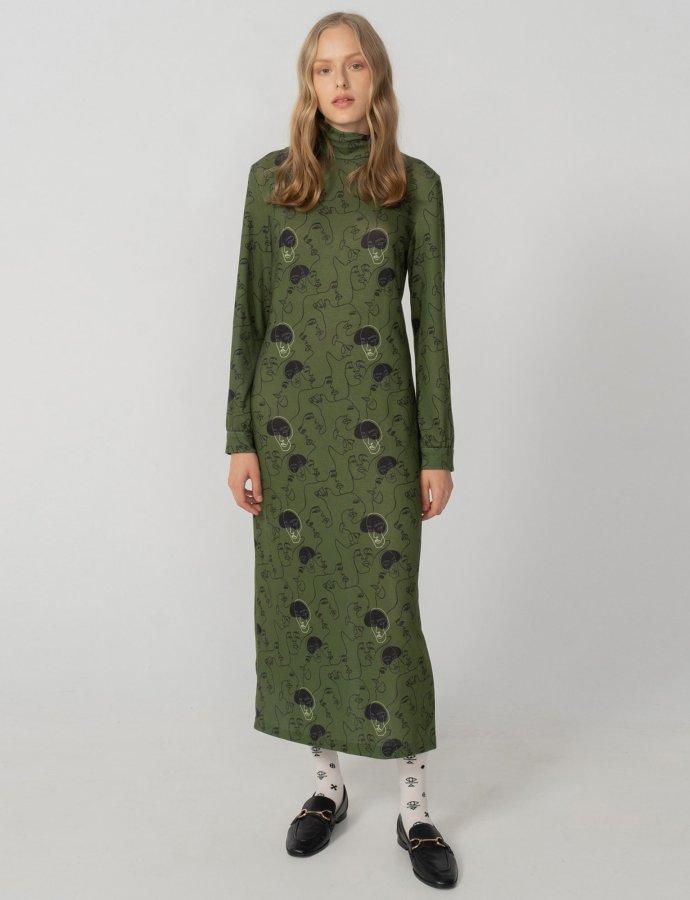 Unity turtleneck dress khaki