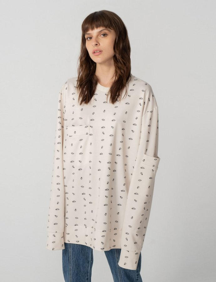 You and eye long sleeve blouse off-white