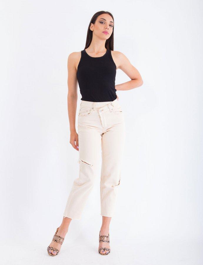 Barbara cream crooked denim pants
