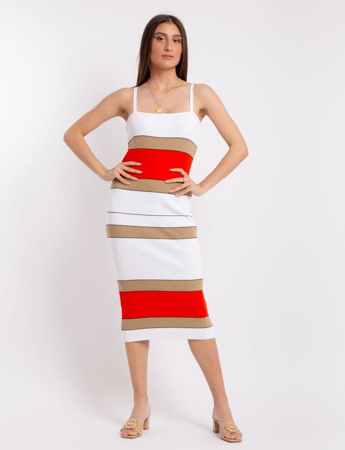 Combos S12 – Coral striped dress