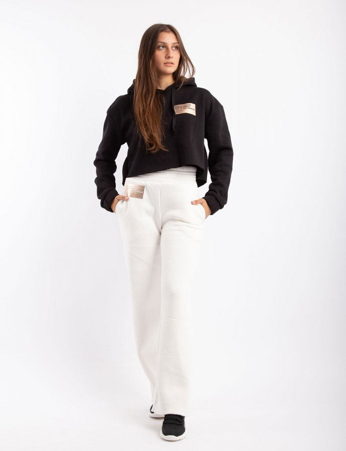 Active high waist flare sweatpants off-white