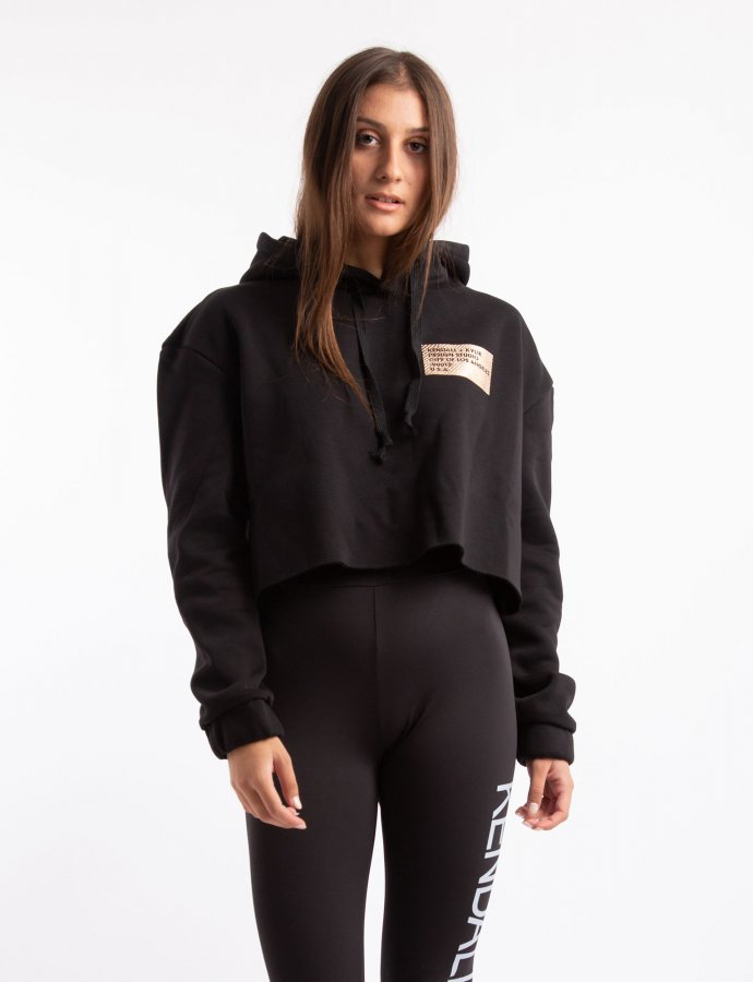 Active hoody sweater cropped black