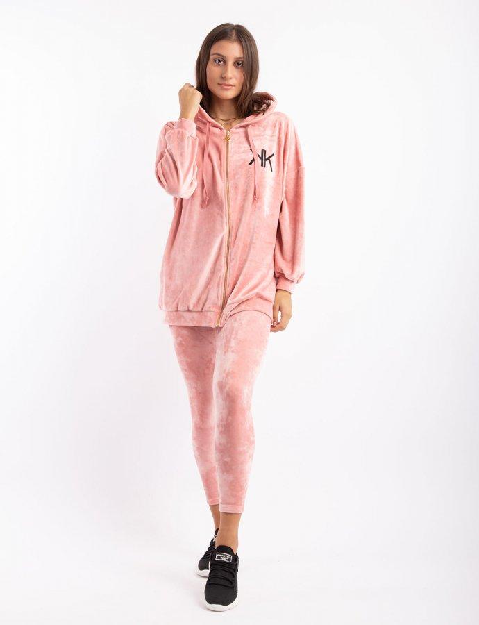 Active velvet oversized zipper hoody dusty pink