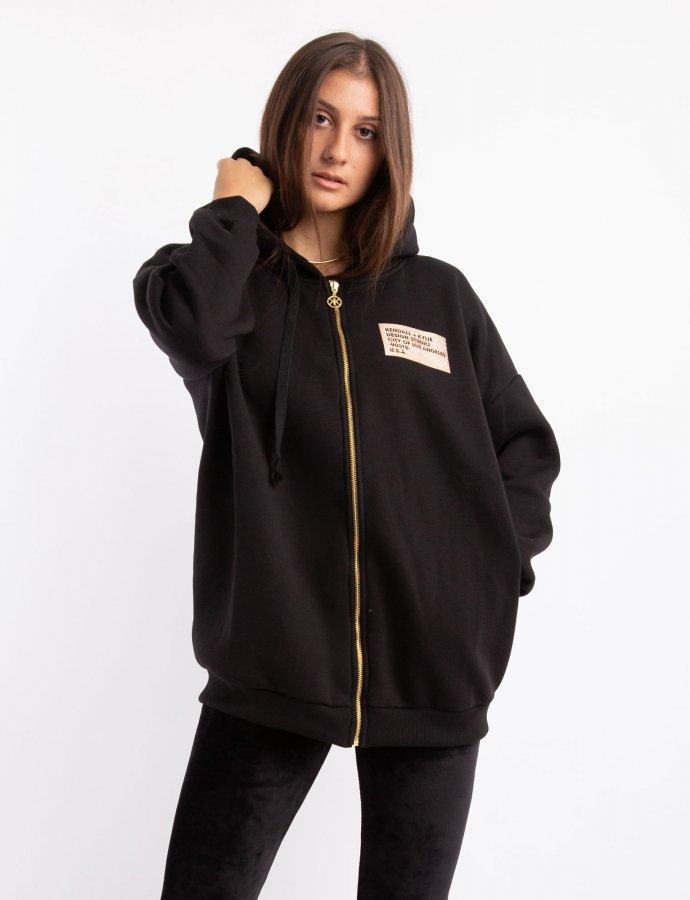Active oversized hoody zipper black