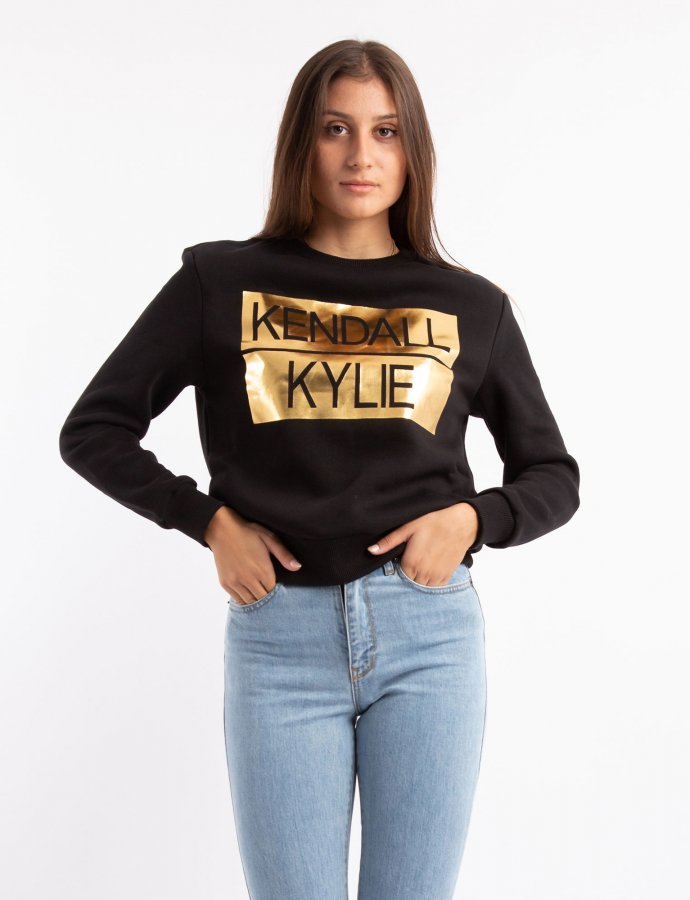 Active metallic stripe college sweater