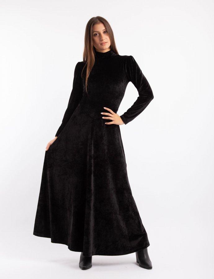 Maxi velvet flare dress black