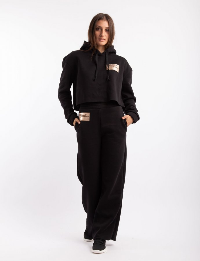 Active high waist flare sweatpants black